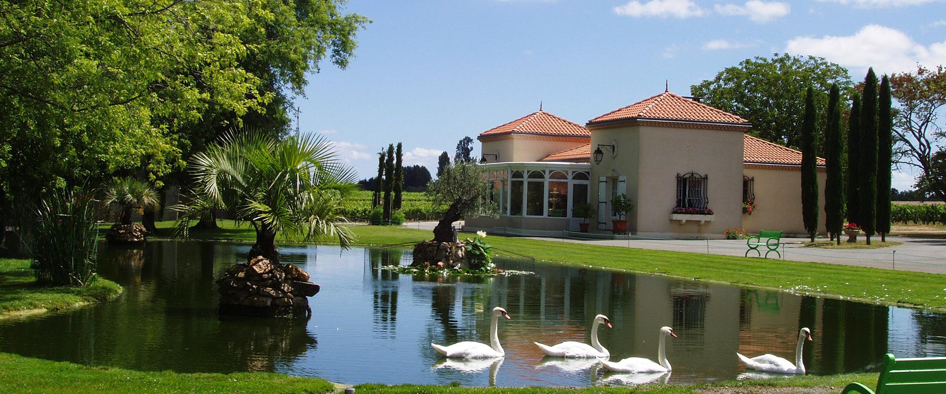 vue sur le parc de la propriété avec un lac et des cygnes Château L'Inclassable